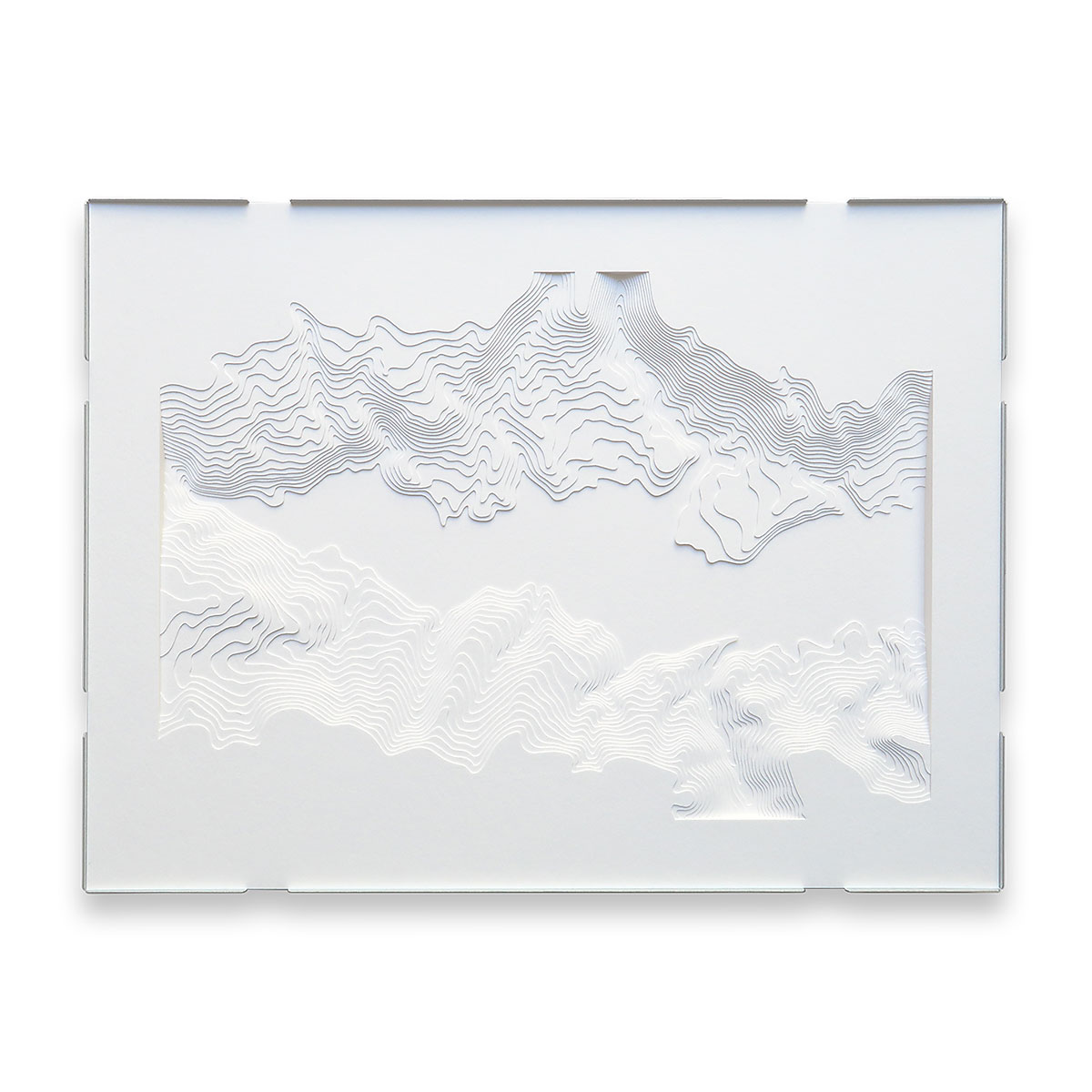 Topographic sculpture from layered paper by Stefanie Herr